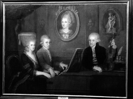 Mozart's Family Portrait: Leopold Mozart, his wife, Maria Anna, and Wolfgang Amadeus Mozart playing the piano