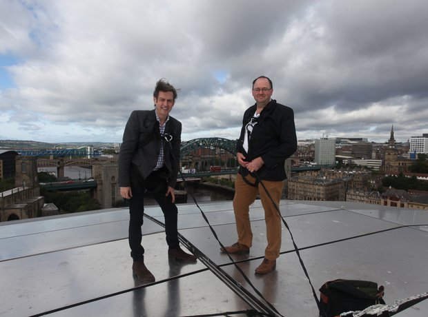 Jamie and Tim on the The Sage Gateshead roof