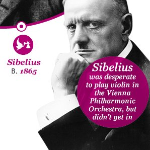 Sibelius was desperate to play violin in the Vienna Philharmonic Orchestra, but  didn't get in