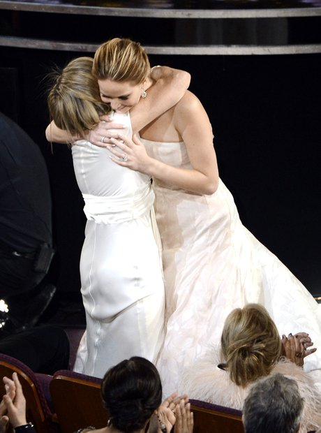 Jennifer Lawrence hugs mother Karen Lawrence at th