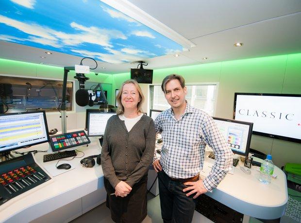 Jamie Crick Anne-Marie Minhall Classic FM studio