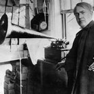 Thomas Edison with his invention the phonograph