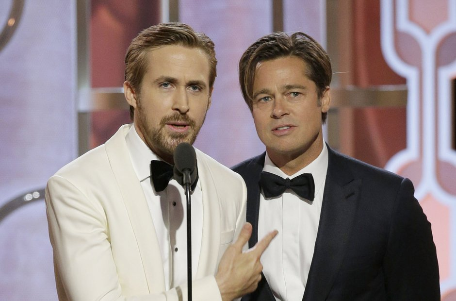 Ryan Gosling and Brad Pitt Golden Globe Awards 201