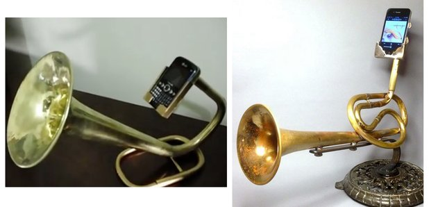 Brass horn phone holder