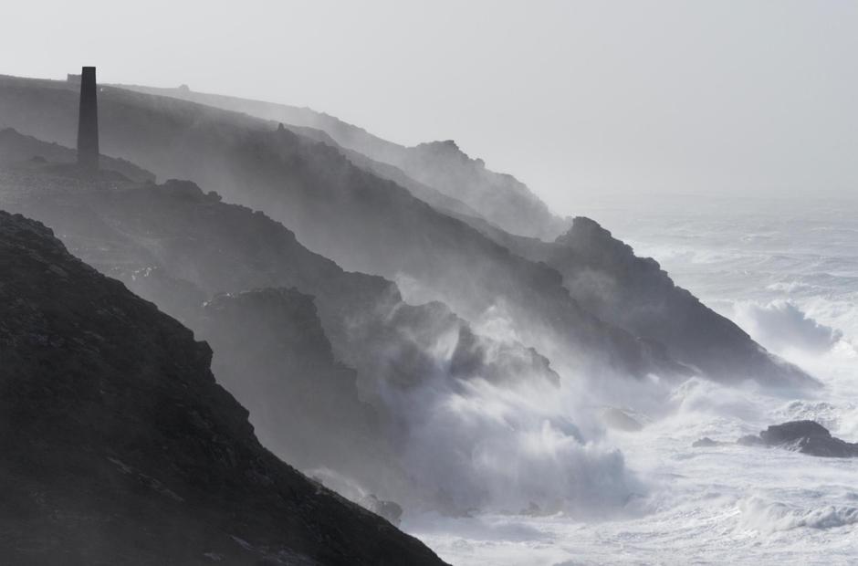 Cornwall waves cliffs tin mine