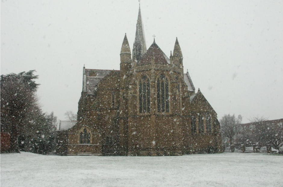 St Matthew's Church Northampton snow