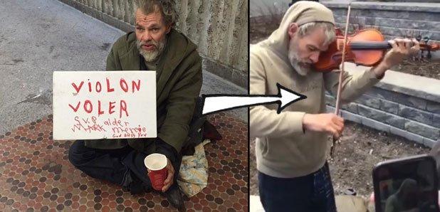 Mark Landry homeless violinist