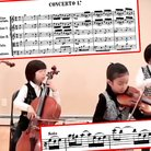 kid quartet playing bach concerto